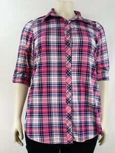 Women`s roll up sleeve collard button down check shirts NOWREDUCED sizes (14-32)