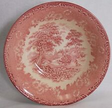 ENGLISH IRONSTONE china KINGSWOOD Pink pattern ROUND VEGETABLE Bowl muted rim