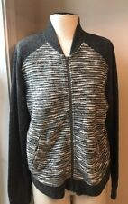 Lucky Brand Sweater Active Bomber Knit accent zip up Jacket Women's L  B 41