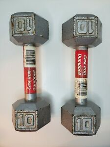 10lb Dumbell Pair Athletic Works Cast Iron 20lb Total