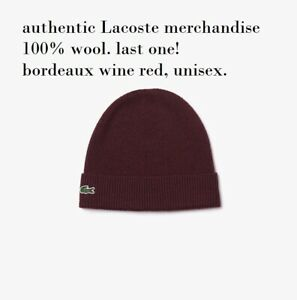 Lacoste Men's knit ribbed Turned Edge 100% Wool Beanie in Bordeaux wine red, NWT