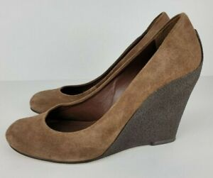 Michael Kors Womens Size 8M Brown Suede Pumps Shoes Textured Rubber Wedge Heels