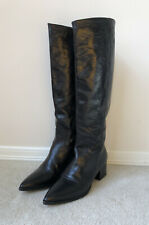 Miu Miu Black Leather Boots Mid Calf Made In Italy 37 7