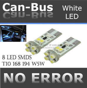 4x piece T10 Canbus No Error 8 LED Chips White Fit Front Sidemarkers Lights Y61
