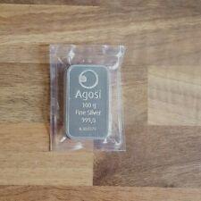 100 g Gramm AGOSI Feinsilber Barren mit Zertifikat