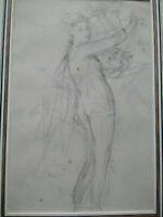 Beau dessin ancien femme XVIIIème étude de nymphe bel encadrement bacchante muse