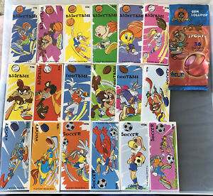 LOONEY TUNES SPORTS STICKERS COMPLETE SET INC WRAPPER DUNKIN. 2001