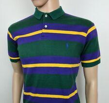 "Ralph Lauren Mens Polo Shirt Top Green Purple Vintage 90s Size UK S Chest 40"""