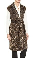 Kobi Halperin 'Noa' Leopard Print Faux Fur Long Vest, Large - Choc Multi 1053