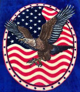 VTG American Eagle Throw Blanket Acrylic Stars & Stripes Red White Blue 52x42