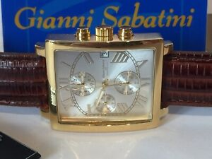 New Mens Gold Gianni Sabatini Chronograph Watch 50m W/Proof 5 Yr Guarantee