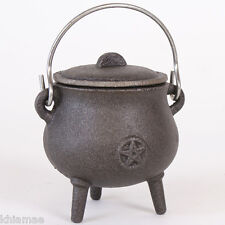 Small Cast Iron Cauldron pentacle design altar pagan wicca yule gift pentagram