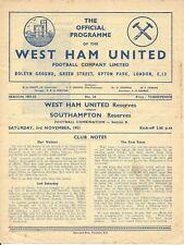 West Ham United Reserves v Southampton Reserves 1951/52
