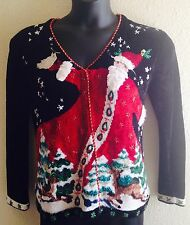 UGLY CHRISTMAS SWEATER Small SANTA Claus REINDEER Trees FESTIVE Woman Soft Beads