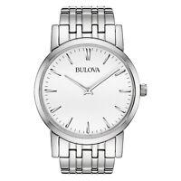 Bulova Men's Quartz White Dial Silver-Tone Bracelet 38mm Watch 96A115
