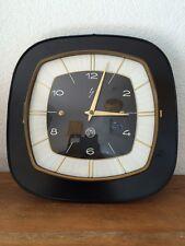 horloge pendule vintage formica noir SMI  année 50 60 70