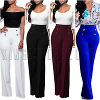 Women Solid Wide Leg Flared Palazzo Pants High Waist Loose Baggy Casual Trousers
