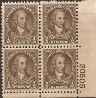 US Stamp 1932 1/2c George Washington Plate Block of 4 Stamps MNH #704