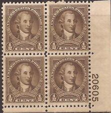 US Stamp 1932 1/2c George Washington Plate Block of 4 Stamps MNH #704