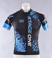 StageOne Eschler Race Cycling Jersey Men's Large Black Blue Pixel Bike Bicycle