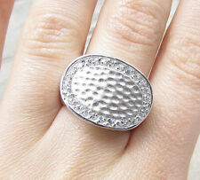 Hammered Thick Band Ring Sz 7 Rg1969 925 Sterling Silver - White Cubic Zirconia