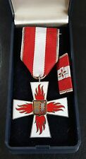 ✚7622✚ German post WW2 Schleswig-Holstein Silver Fire Service Cross for 25 Years