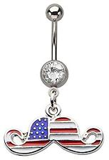 Belly Button ring 14g 7/16 Navel with Clear Gem American Flag Mustache