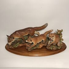 """Anri Gunther Granget Vulpes Fox Cubs 27"""" Large Wood Carved Statue Limited 200"""