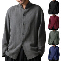 Mens Retro Chinese Style Blouse Baggy Kung Fu Shirt Tops Long Sleeve Tops Autumn
