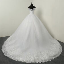 Luxury Lace Applique Plus Size Wedding Dresses Embroidery  Long Train Bride Gown