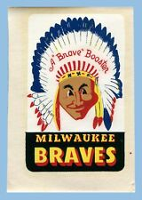 VINTAGE - 1950's - MILWAUKEE BRAVES 'BOOSTER' DECAL - UNUSED - ORIGINAL SLEEVE