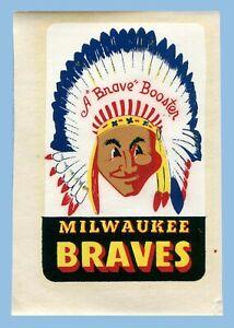VINTAGE - 1950's - MILWAUKEE BRAVES 'BOOSTER' DECAL - UNUSED - ORIGINAL SLEEVE