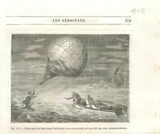 Chute du ballon de Francisque Arban en mer Adriatique 1846 aérostat GRAVURE 1890