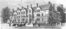 LANCS. Dalton student Hall, Manchester University, antique print, 1882