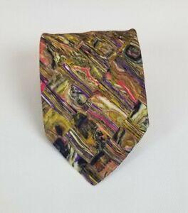 Brioni Men's 100% Silk Neck Tie Multi Color Abstract 62L 3.75W Made in Italy