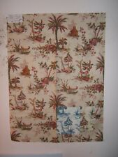 """Cowtan and Tout """"Captiva Toile"""" novelty toile vintage remnant color rose/green"""