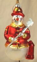 TJ's Christmas Snowman Fireman with hose and hydrant glass silvered ornament