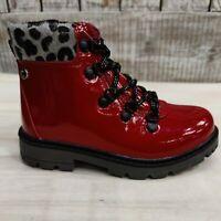 Girls Cipriata Red  Boot Patent Short Biker Boot Ankle Girls New