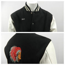 Vintage Black White Varsity Letterman Jacket Embroidered Indian Chief Headdress