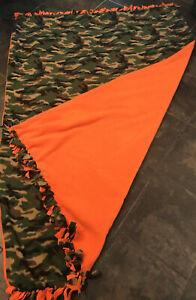 "Handmade Oversize FLEECE TIE-BLANKET 84x61"" Hunting Mossy Oak Camouflage 2-Layer"