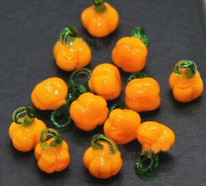 100pcs handmade Lampwork glass Beads pendants yellow Pumpkin 10*15mm