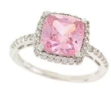 """EPIPHANY PLATINUM CLAD DIAMONIQUE """"PINK CUSHION"""" CUT RING SIZE 10 QVC SOLD OUT"""