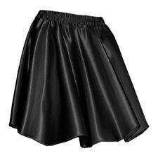 Black Satin Women Girl Short Mini Dress Skirt Pleated Retro Elastic Waist Club