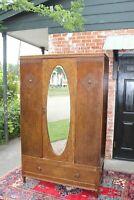 English Antique Oak 1 Doors & 1 Drawer Cabinet Wardrobe / Armoire
