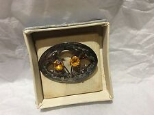 Silver Plated Amber Costume Brooches & Pins