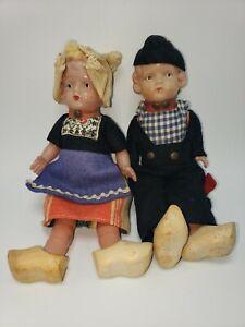 "Antique Celluloid Dolls Dutch/ German Boy & Girl Couple 7.5"""
