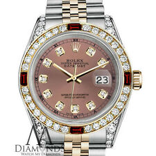 Ladies Rolex Stainless Steel & Gold 26mm Datejust Watch Salmon Dial Ruby Diamond