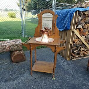VTG Wooden Table and Wash Basin Stand w/ Pitcher & Bowl And Hall Table Set
