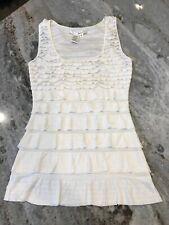Women's S Max Studio Tank Dressy Off White Cream Stretchy Layered