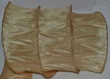 Wired Ribbon~Crinkle Beige~Ivory Gold~Holiday~Wreath~Gift~Craft~Bridal~Bow